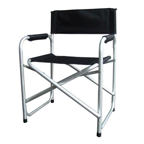 black lightweight folding directors chair w table arms