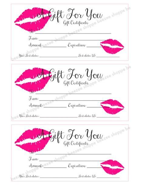 makeup gift card template printable gift certificate lipsense senegence gift card