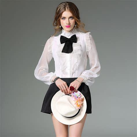 Luxury Blouse luxury silk s shirts 2017 lace retro blouses bow tie collar white black high
