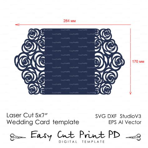 Silhouette Cameo Card Templates by Roses Wedding Luxury Card Template Cutting File C113 Svg