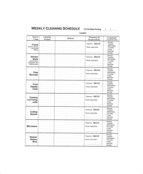 weekly cleaning schedule template cleaning schedule template for office affordable cleaning