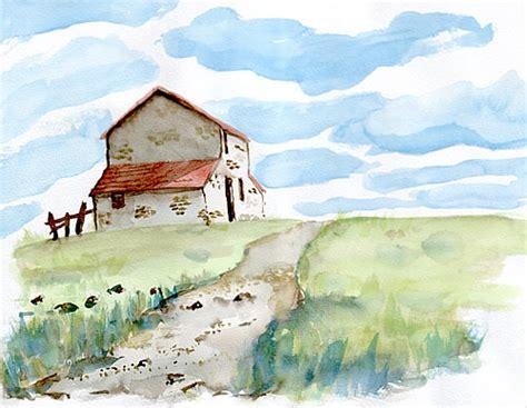 haus malen aquarellmalerei landschaft picture to pin on