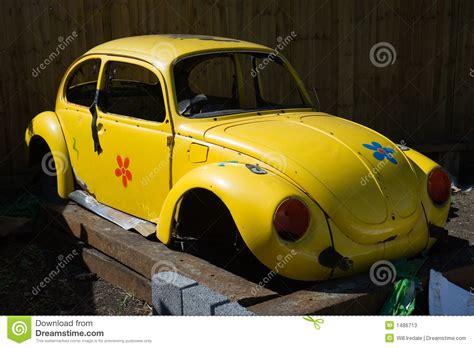 vw beetle shell stock image image  yellow blocks door