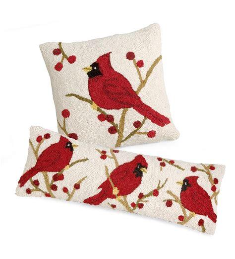 Cardinal Pillow 16 quot sq cardinal hooked wool pillow collection