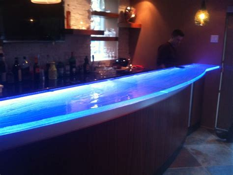 bar top lighting glass counter top with led contemporary kitchen