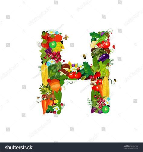 h letter fruit fresh vegetables fruits letter h stock vector 141361948