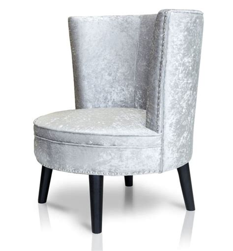 armchairs belfast layla crushed velvet occasional chair silver