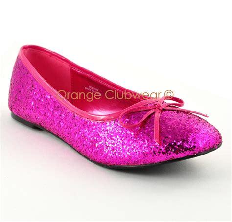 pink flats shoes pleaser s solid pink glitter flats