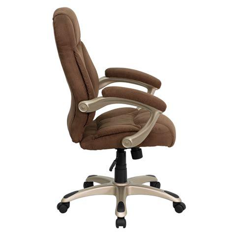 High Back Brown Microfiber Contemporary Executive Swivel Microfiber Swivel Chair