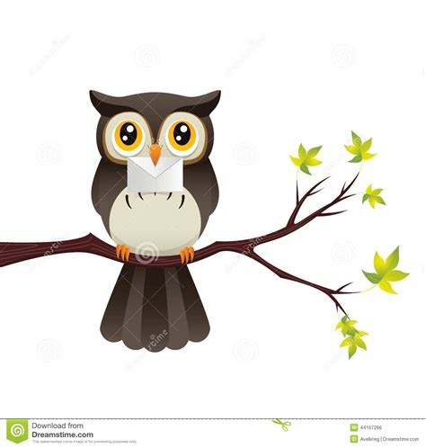 Printable Owl Holding A Letter Card Template Large by Owl With A Letter Stock Vector Illustration Of Green