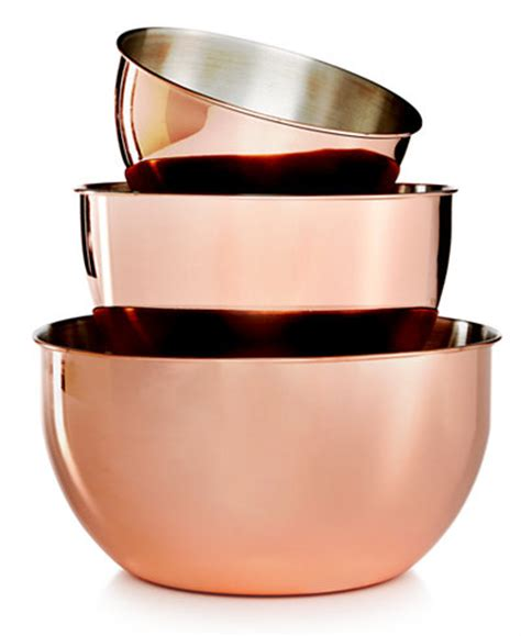 martha stewart kitchen collection martha stewart collection 3 pc copper plated mixing bowl