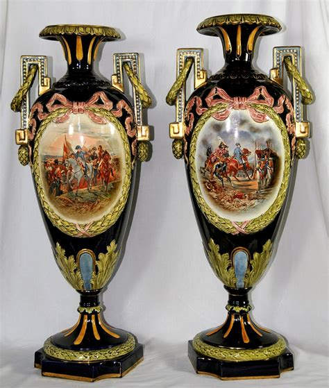 Majolica Vases Antiques by Pair Of Signed Napoleon Majolica Vases For Sale Antiques