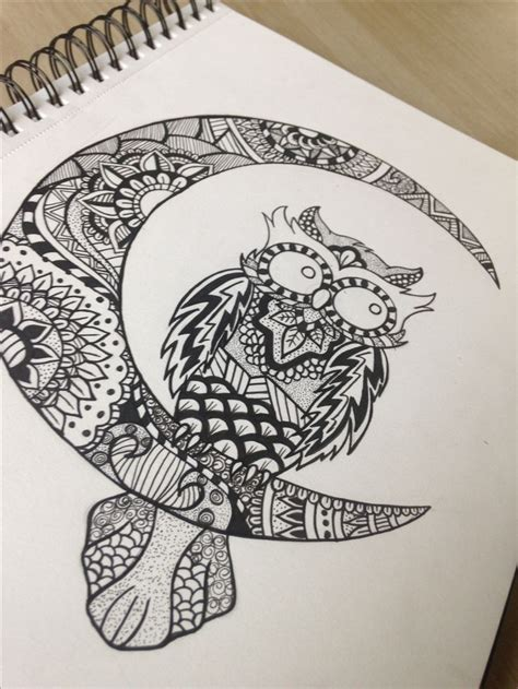 zentangle tattoo mandala zentangle owl by me zen doodle