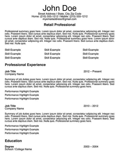 resume title sles resume title exles for retail resume ixiplay free