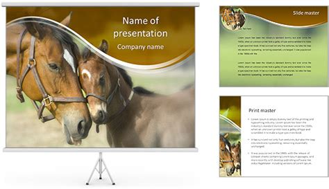 powerpoint themes horse horse with foal powerpoint template backgrounds id