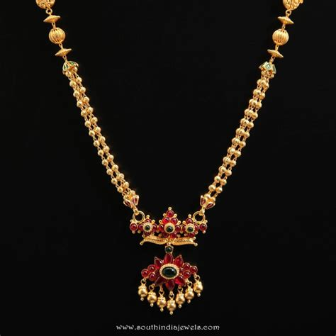 Gold Fashion Jewelry Pendant Kalung Bola Elegan Gold Necklace From D A R Jewellers South India Jewels