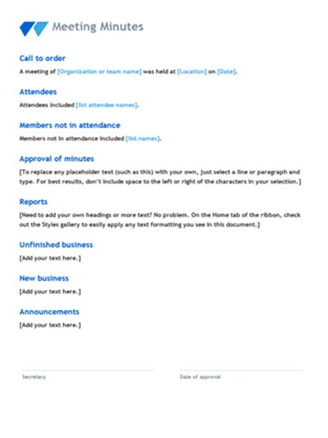 Meeting Minutes Office Templates Microsoft Office Meeting Minutes Template