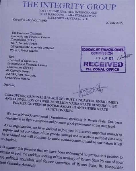 Petition Letter To Efcc The Integrity Ngo Claims Effc Lied About Antigraft Caign