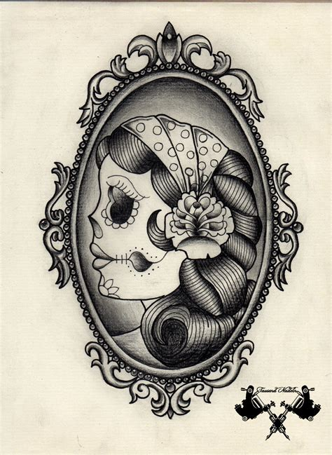 black and white skull tattoo designs flash sugar skull black and white by
