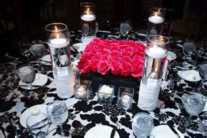 Wedding table centerpieces for a black and white themed wedding