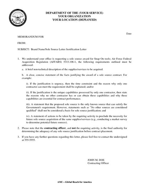 Sle Justification Letter Employment Best Photos Of Justification Statement Exle Justification Report Exles Justification