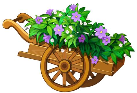 flower garden png wooden garden wheelbarrow with flowers png clipart the