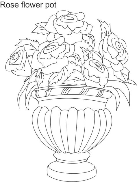 coloring page of a flower pot flower pot coloring printable page for kids 2