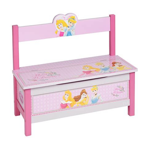 childrens toy box bench kids disney princess wooden mdf 2 in 1 toy storage chest