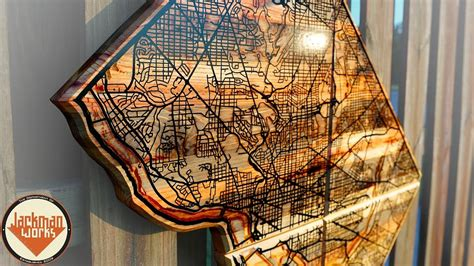 reclaimed wall map  epoxy resin river  road inlay