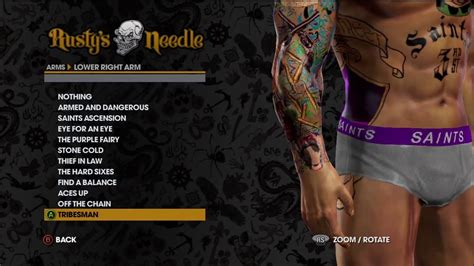 saints row tattoos arms customize tattoos on saints row 174 the third demo