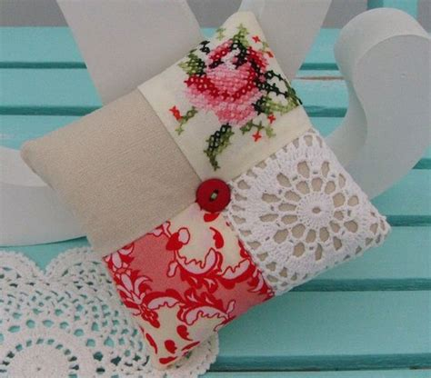 Where Did Patchwork Originate From - patchwork and doily pincushion combo this idea for