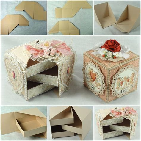 How To Make Handmade Boxes - how to diy secret jewelry box from cardboard fab diy