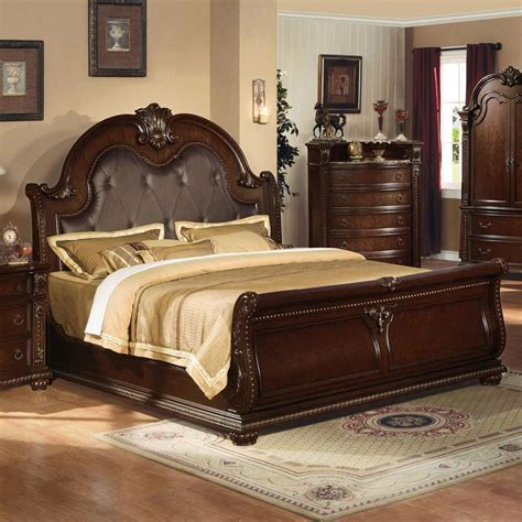 Acme Furniture Anondale 10307ek Traditional King Sleigh Leather Headboard Sleigh Bed