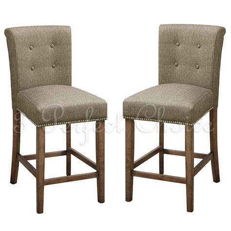 Counter High Dining Chairs 2 Pc Dining High Counter Height Side Chair Bar Stool 24 Quot H Blended Linen Slate Ebay