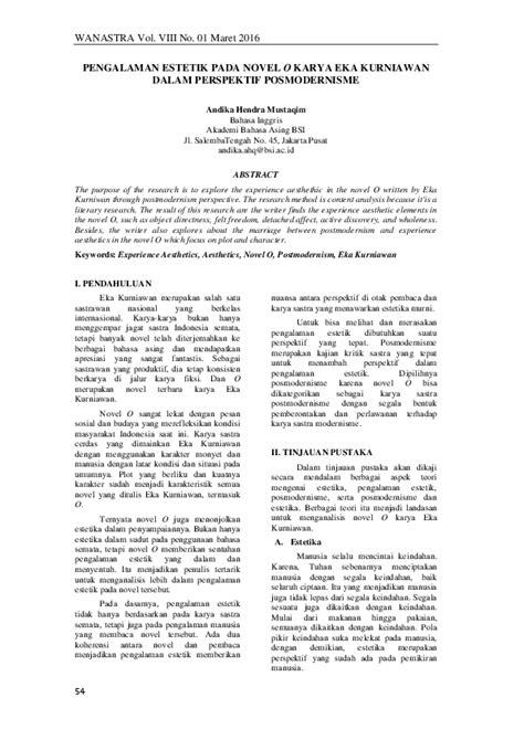 (PDF) PENGALAMAN ESTETIK PADA NOVEL O KARYA EKA KURNIAWAN