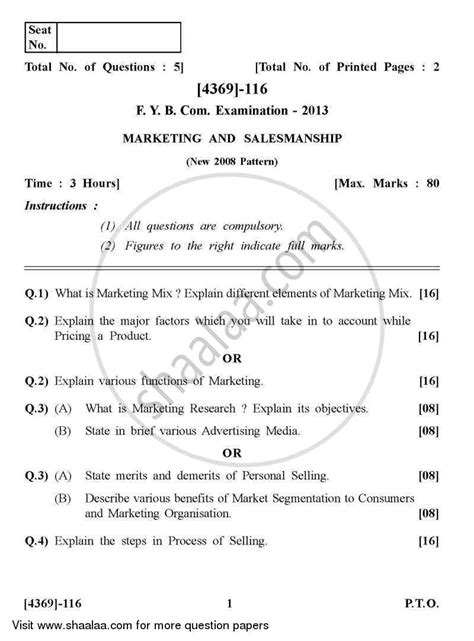 Pune Mba Question Papers by Question Paper Marketing And Salesmanship 2012 2013