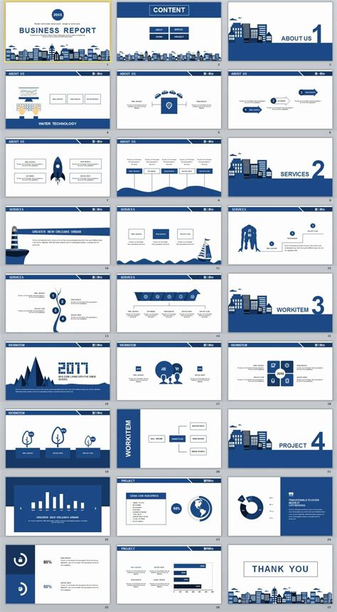 design jornal powerpoint 27 blue simple business report powerpoint templates
