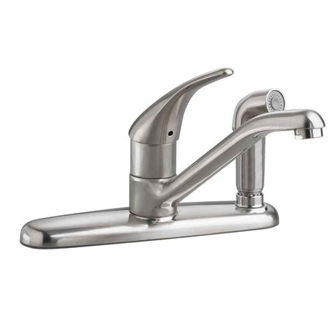 american standard portsmouth high arc 2 handle standard kitchen faucet with side sprayer in