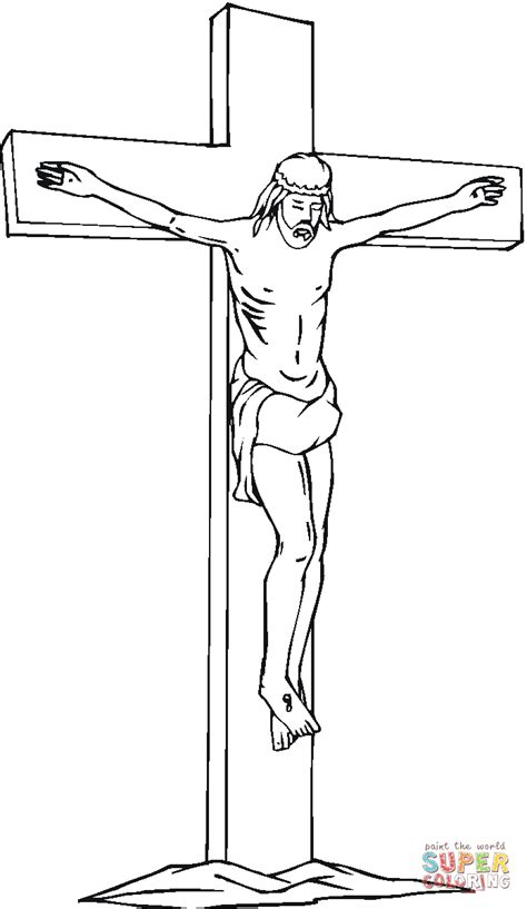 coloring pages jesus on the cross jesus christ on the cross coloring page free printable