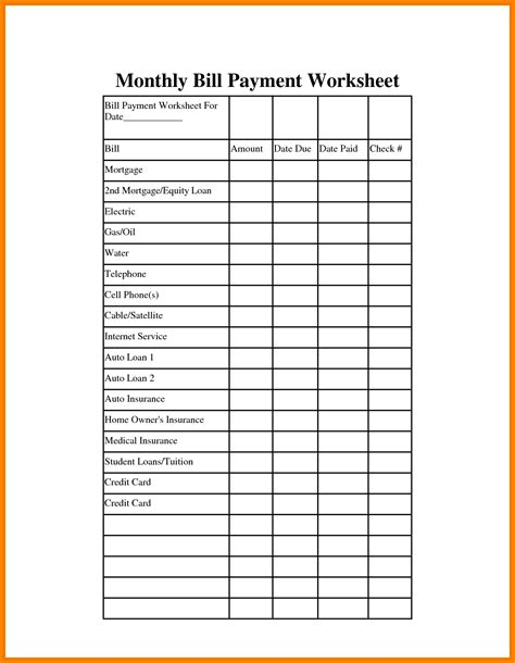 bill payment template monthly bills template monthly bills template