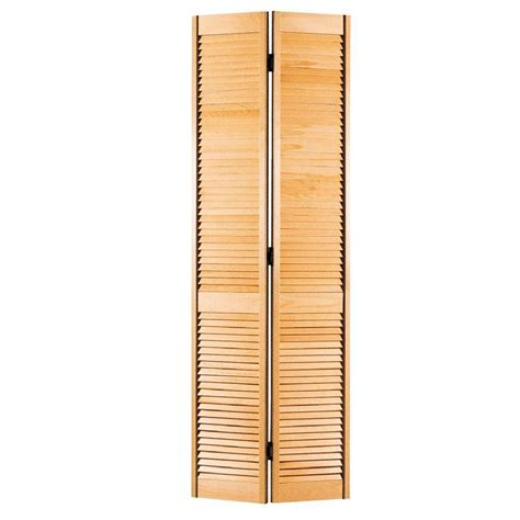 Bi Fold Louvered Closet Doors Masonite 36 In X 80 In Smooth Louver Unfinished Pine Interior Bi Fold Closet Door 05149