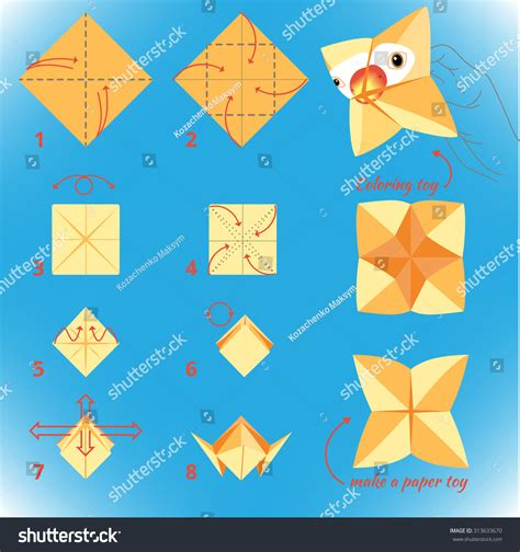 How To Make Paper Toys Step By Step - how make paper bird origami stock vector
