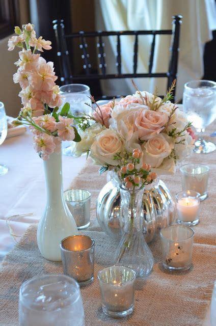 Pink centerpieces, Blush centerpieces, Mercury glass, milk