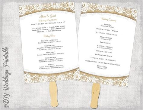wedding program fan template rustic quot burlap lace quot diy
