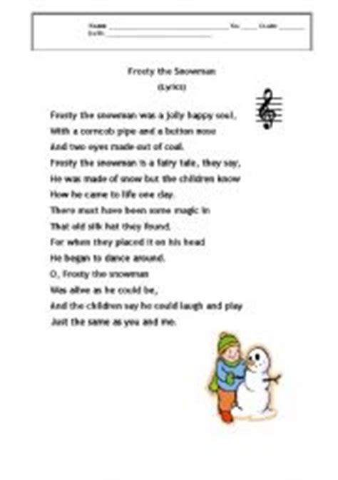 printable lyrics for frosty the snowman english worksheets frsty the snowman lyrics