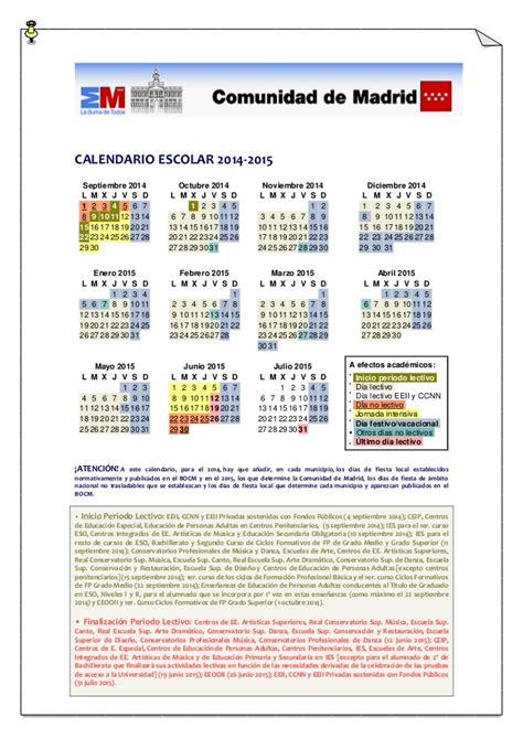 Calendario J Calendario Escolar Madrid 2014 15