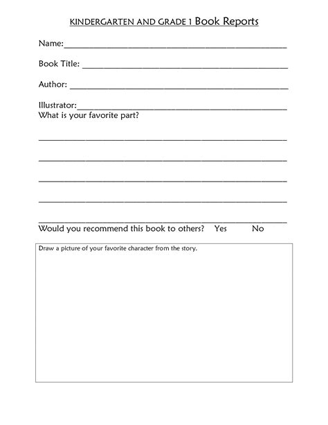 Free Book Report Templates For Kindergarten 18 Best Images Of Kindergarten Book Report Worksheet