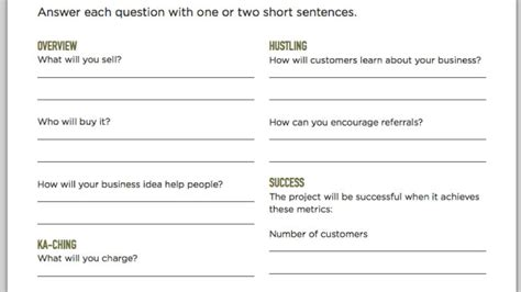 fill in the blank business plan template fill out a one page business plan and get your business