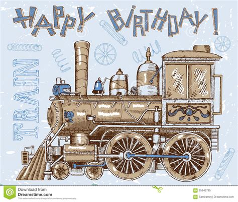 theme line vintage happy birthday card with old locomotive on blue stock