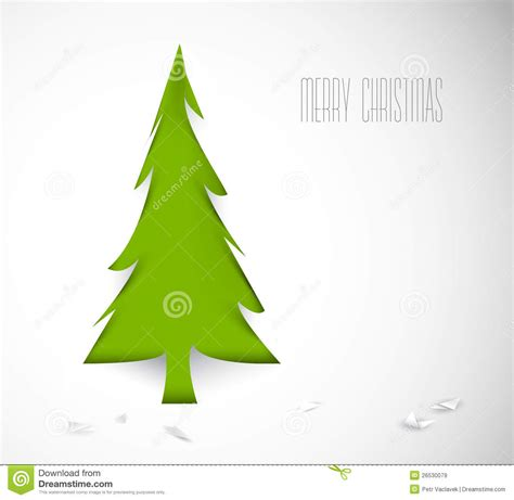 vector christmas tree cut out from paper royalty free